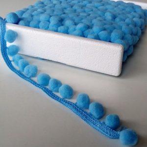 Ozdobna paska s brmbolcami - modra