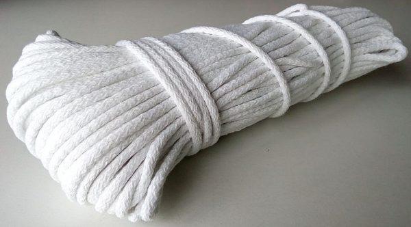 Bavlnena snurka okruhla 6mm biela