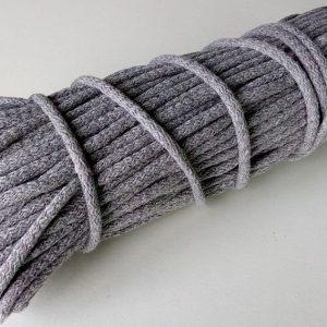 Bavlnena snurka okruhla 6mm siva